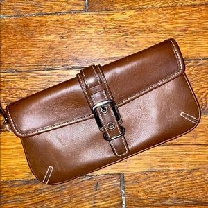 Coach brown leather wristlet wallet vintage